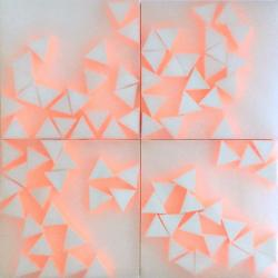 Norma Márquez Orozco, 21 Triangles (with neon orange), 2019